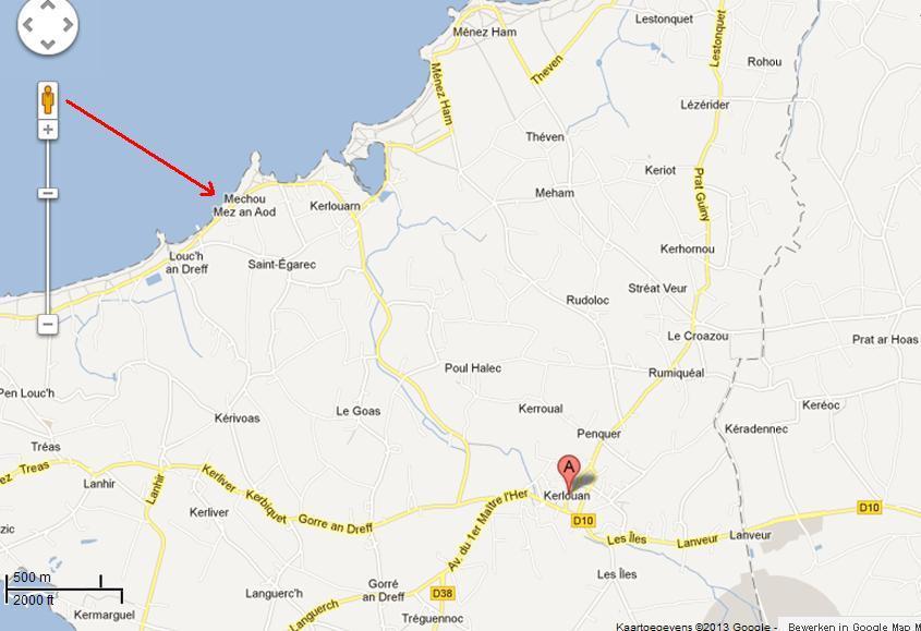 Carte Kerlouan Bretagne.Situation Maison De Vacances En Bretagne Kerlouan